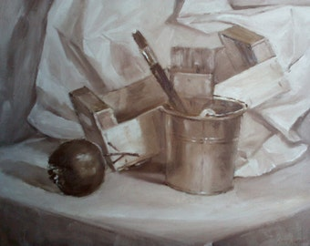 Still life- grisaille-brown-wall decor-Fathers Day Gift-Cozy Interior Decor-Oil Painting-Personalized Art Gift-Art Investment-painting art