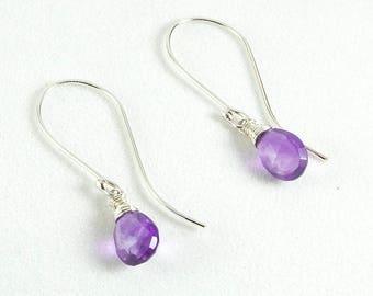 Amethyst Earrings, Purple Amethyst Drop Earrings, Modern Earrings, Amethyst Sterling Earrings, Purple Earrings, February Birthstone