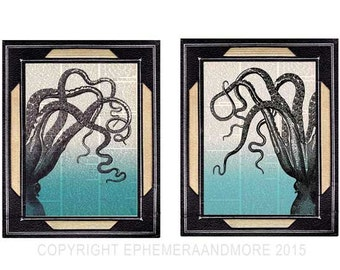 OCTOPUS TENTACLES 2 art prints nautical beach ocean sea blue ombre vintage dictionary book page cephalopod natural science wall decor 8x10