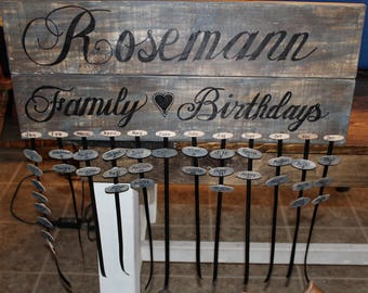 Customizable Family Birthdays Wood Sign