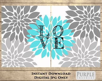 LOVE Wall Art Aua Blue Flower Burst Art Botanical Printable Art Nursery Wall Art Set Art For Bedroom Art for Kids Room(110)