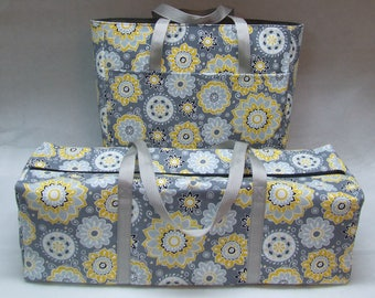 Yellow, Gray, Black Floral Print Carrying Case and Accessory Bag for the Cricut Maker/ Cricut Explore Air/ Silhouette Cameo 3 /Explore Air 2