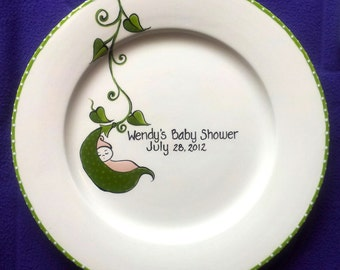 Baby Shower Guest Book Alternative, New Baby Gift, Baby Shower Plate,baby shower plate,shower guest book, baby shower platter,Peapod Baby