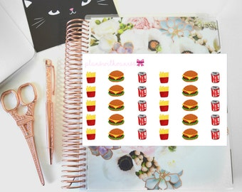 Fast Food Lover / American (Burger, Fries, Coke) Hand Drawn Planner Stickers
