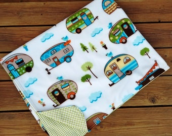 Throw Blanket, Fleece and Flannel, Holiday Blanket, Vintage Camping, Vintage Trailers, Holiday Quilt, Woodland Blanket, Christmas Blanket