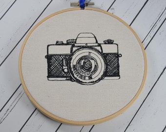 Retro Camera Embroidered Wall Art