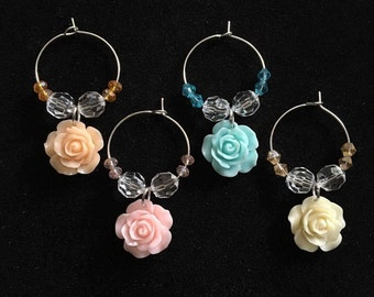 Rose wine glass charms, rose charms, wine charms, colorful rose charms