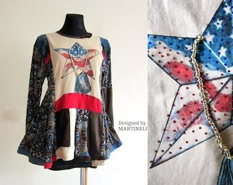 M/L American Flag Dress Boho Gypsy Dress Hippie Dress Recycled Dress Sweater Dress Recycled Clothing Patchwork  Dress Tshirts Recycle