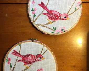 Repurpoaed embroidery hoop wall hanging set of two birds