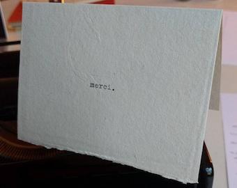 "Minimalist hand typed thank you card - ""merci"""