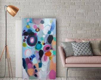 original abstract painting, pink, blue, purple, black, white 18 x 36 inches