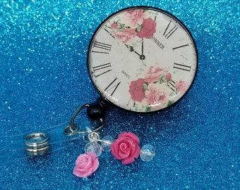 Vintage floral clock badge reel