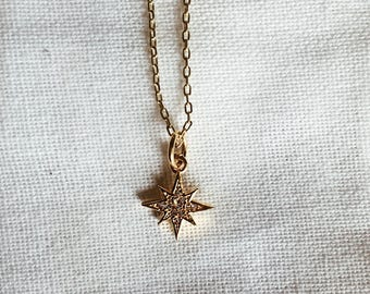 Starburst charm necklace / delicate, dainty necklace