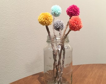 BRIGHTS - Set of FIVE yarn pom pom flowers with twig stems for centerpieces and party decorations