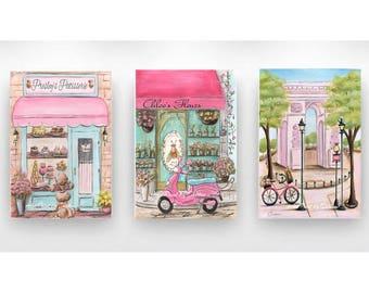 Paris Bedroom Decor, Set Of 3 Canvases, Personalize Patisserie And Flower Shop, Girls Paris Themed Bedroom, Pink Arc De Triomphe, 6 Sizes