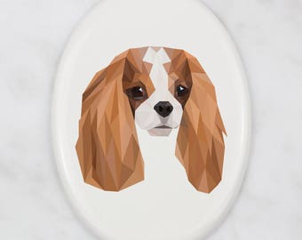 A ceramic tombstone plaque with a Cavalier King Charles Spaniel dog. Art-Dog geometric dog