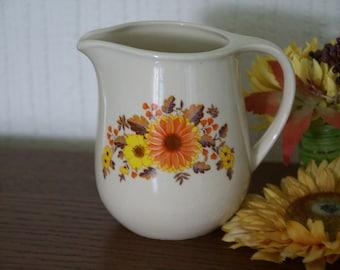 Vintage 60's 70's Cream and Orange Daisy Floral Milk Jug Romanian Flower Power Retro Kitsch