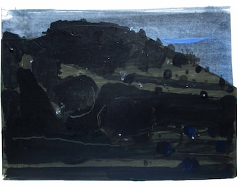 Night Walk, Original Autumn Abstract Landscape Collage Painting on Paper, Stooshinoff