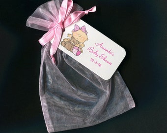 Baby Shower Favor Bags - Baby Girl Favor Bags - Personalized - Gift Bags - Organza Bags - Baby Girl With Bear And Ball