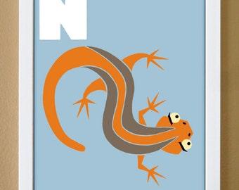 alphabet letter N, newt, custom colors, alphabet art, nursery decor, kids initials, 4X6, 5X7, 8X10