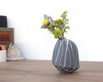 slip cast splatter birdie bud vase