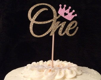 One with crown cake topper, babys first birthday topper, glitter one, one topper, handmade topper, gold, princess crown