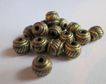 15 bronze 6mm x 5mm metal spacer beads