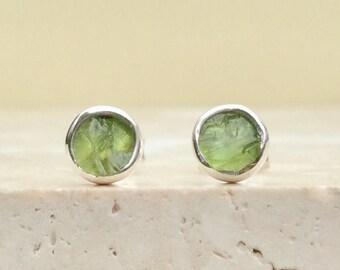Peridot Studs, Raw Stone Studs, Raw Peridot Silver Stud Earrings, Raw Gemstone Earrings, Raw Stone Studs, Peridot Sterling Silver Earrings