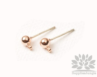 E349-RG// Rose Gold Plated Simple 4mm Solid Ball Earring Post, 4pcs