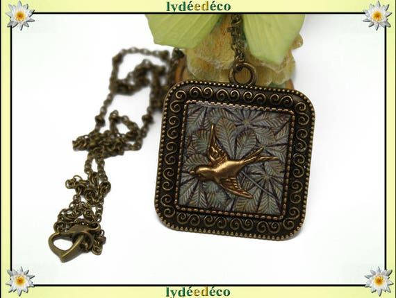 Retro necklace bird leaf tree Medallion beige Brown resin grey brass bronze 20mm Christmas gift