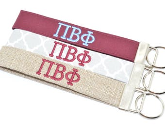 Officially Licensed Pi Beta Phi Sorority Keychain Key Chain Fob Wristlet Greek Life Personalized Embroidered