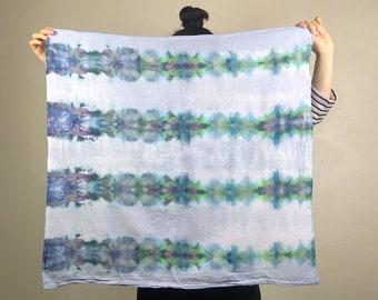 Overdyed shibori tea towel // ice dye cotton flour sack towel // small square tapestry, wall art, gift // tie dye furoshiki // misty stripes