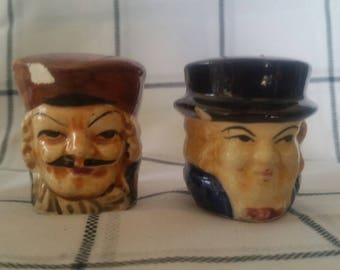 Vintage porcelain Toby head salt and pepper shakers, made in Japan
