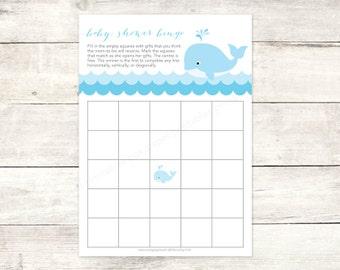 baby shower bingo game card printable DIY blue whale waves grey cute baby boy digital shower games - INSTANT DOWNLOAD
