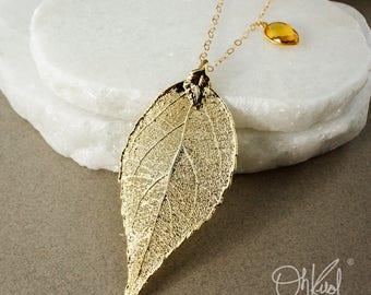 Gold Evergreen Layering Leaf Necklace – Citrine Quartz and Mystic Quartz