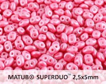 25g (300pcs) Pearl Pastel Light Pink Super Duo Czech Glass Seed Beads 5x2.5mm