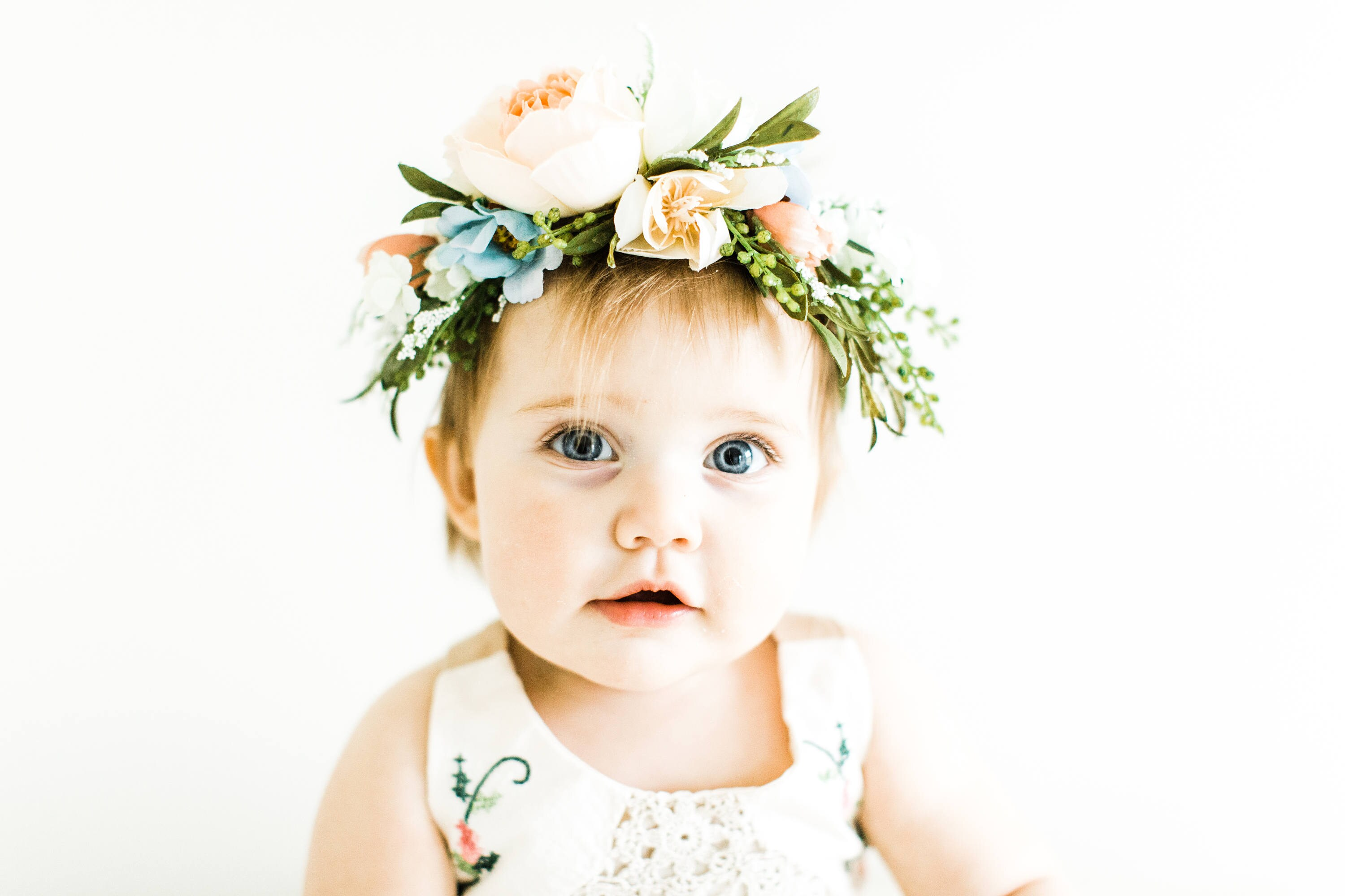 Tieback flower crown bridal crown toddler flower crown woodland tieback flower crown bridal crown toddler flower crown woodland fairy baby photo prop festival crown birthday girl baby flower crown izmirmasajfo