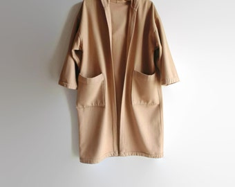Hooded Cape Camel Coat, Vintage Womens Clothes, Over Coat, Beige Velour Fabric, 90s, Womens Dress, Size 8, Hood Coat Cape, Wool Coat