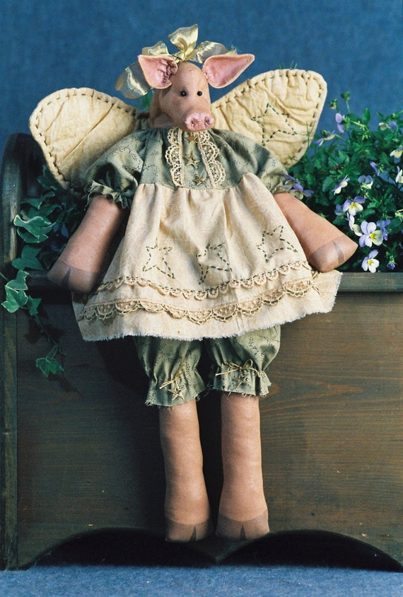 Hog Heaven - Mailed Cloth Doll Pattern - 20in Winged Country Girl Pig Angel