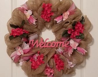 Burlap Deco Mesh w/ Pink Flowers