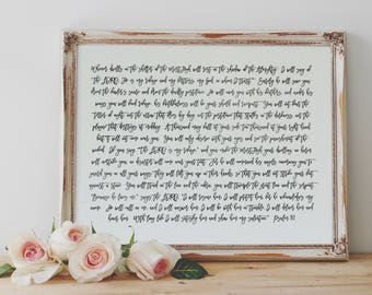Psalm 91 | Printable |  Christian Wall Art | World Map | Faith Print | Modern Scripture Print