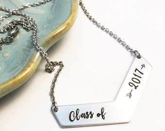 Class of 2017 ~ Chevron ~ Graduation Necklace ~ Oh, the places you'll go ~ Follow your arrow ~ Gift for Graduate ~ for her ~ Gifts under 25