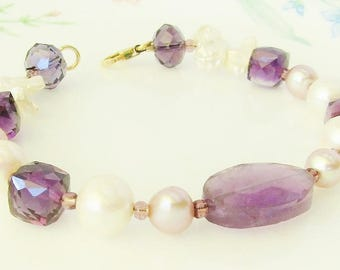 purple amethyst, ametrine and white pearl bracelet - June birthstone, February birthstone