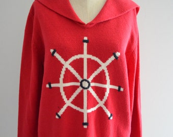 SAILOR RED TOP Liz Claiborne Villager Red Sailor Rudder/ knitted Cardigan Sweaters Blouse