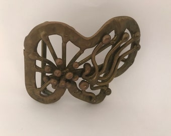 Vintage one of a kind Brutalist Brass Belt Buckle in the style of Jack Boyd- Free Shipping