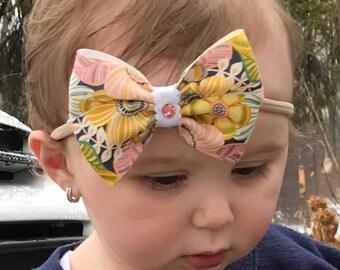 Floral hair bow, flower hair bow, flower bow, floral hair clip, floral print, pink, blue, swarovski