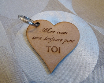 Wooden Keychain personalized heart shaped - Valentines day, birthday gift idea