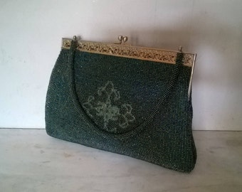 Vintage beaded handbag, 1960s or 1970s, green, with beaded top handle