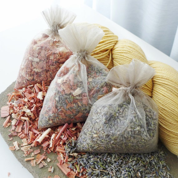 Organic Lavender Cedar Sachets - Moth Repellent Prevention for Handknits Wool Yarn Fiber Storage - Five Sizes Available