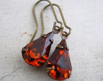 Madeira Topaz Rhinestone Earrings.  Vintage Swarovski Earrings. Red Topaz Earrings. Fiery Sultry Cognac Red Orange Petite Earrings